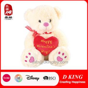 Wholesale Teddy Bear Happy Valentine′s Day Gift Plush Toy with Red Heart