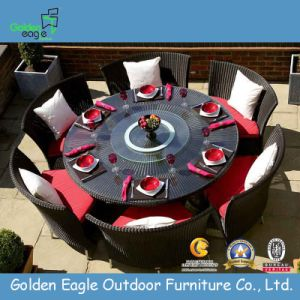 Hot Aluminium Woven Rattan Round Table Dining Set