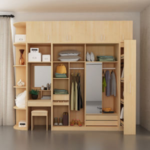 Walk in Multi-Purpose Hot Sale Bedroom Wardrobe Closet with Sliding Door  and Dressing Table Mirror and Drawers