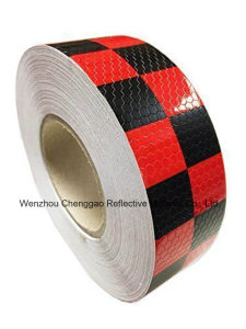 PVC Yellow and Red Chequer Safety Warning Reflective Tape (C3500-G) pictures & photos