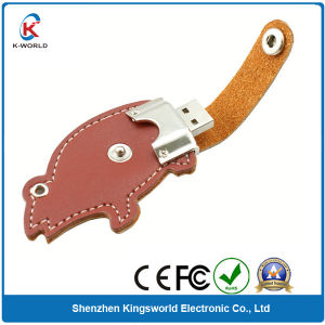 Leather Cartoon Swivel USB Flash Disk (KW-0238)