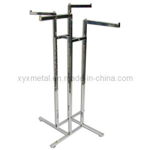 Exported 4 Straight Arms Chrome 4-Way Clothing Garment Rack (YJ-401) pictures & photos