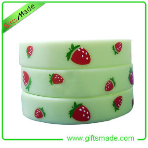 Cute Strawberry Printed Silicon Wristband