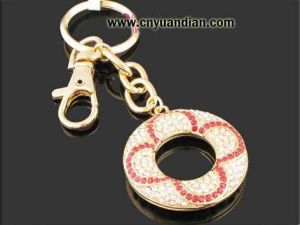 High Quality Fashion Glass Stone Metal Key Ring