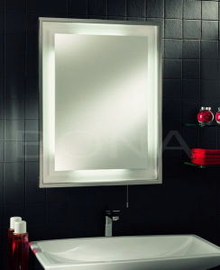 China Fluorescent Bathroom Mirror With Stainless Steel Frame In