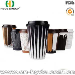 Shrink Wrapped Bundle Ripple Black Paper Cup with Lid (HDP-2001) pictures & photos