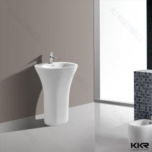 Diamond Shape Modern Acrylic Solid Surface Freestanding Basin pictures & photos
