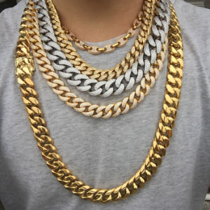 Miss Jewelry Factory Supply Best Sale Hip Hop Collar Gold Chain Cuban Link  Iced Hip Hop Jewelry