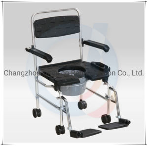 Steel Foldable Shower Commode Chair with Wheels