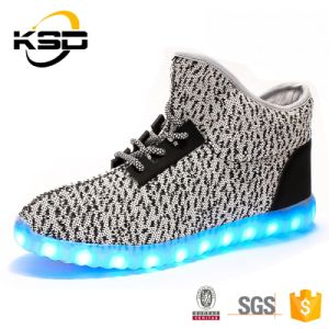 Best Sell Yeezy High Quality Cheap Price LED Shoe OEM Flyknit Fabric Material Casual Party Shoe Light