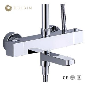 China Bathroom Wall Mounted Thermostatic Brass Chromed Two Handle Two Hole Shower Faucet Mixer China Shower Faucet Thermostatic Faucet