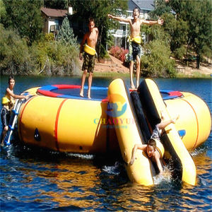 Customized Inflatable Floating Water Trampoline with Slide for Water Park pictures & photos