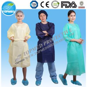 Nonwoven Yellow SBPP Isolation Gowns Isolation Gown with Knitted Cuff pictures & photos