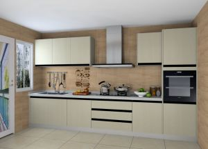 Light Champagne Linear Type Wood Kitchen Units Kitchen Cabinets