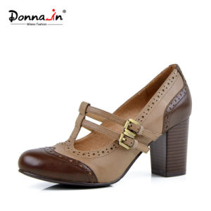 Lady Brogue T-Strap High Heels Pumps Leather Women Casual Shoes