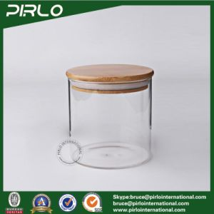 China 400ml Wide Mouth Borosilicate Glass Jar with Wood Lid Glass