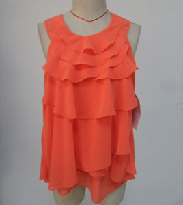 Hot Sale New Arrvial O-Neck Orange Color Fashion Sleeveless Ladies Blouse pictures & photos