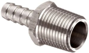 "Stainless Steel 316 Hose Fitting, Insert, 1/2"" NPT Male X 3/8"" Hose ID Barbed"