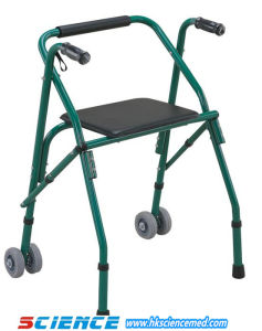 Aluminum Foldable Walker with Seat and Wheel (SC-WK12(A)) pictures & photos