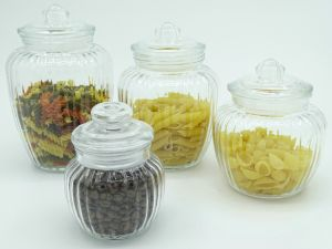 Ribbled Glass Storage Jar Push Lid Food Kitchen Preseving Container pictures & photos