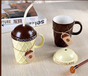 Creative Deisgn Porcelain Coffee Mug with Lid and Spoon for Wholesale pictures & photos