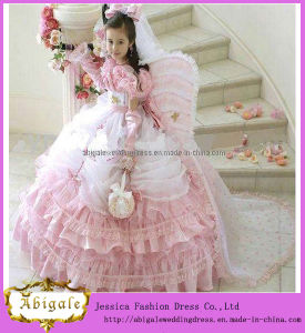 New Hot Sale Cute Pink and White Long Sleeve Big Organza Skirt Flower Girl Dress 2017 (WJ0004)