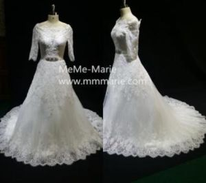 Classic Sleeved Sabrina Neck A Line Appliqued Lace Wedding Dress Bridal Gown With Rhinestones Byb 14506