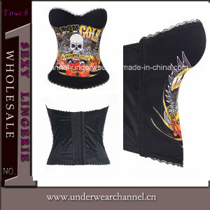 China Manufacture Skull Printed Women Overbust Corset (TG687) pictures & photos