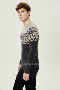 50%Lambs Wool50%Nylon Jacquard Pullover Knit Sweater for Men pictures & photos