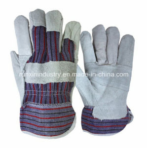 Patched Palm Cow Leather Working Gloves pictures & photos