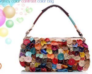 6b5565d8198d Handmade Artwork Bag DIY Lily Daisy Lotus Flower Genuine Cow Sheep Leather  Tote It Handbag