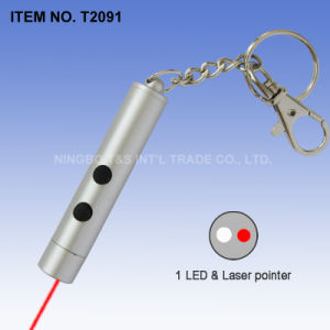 2 in 1 Laser Pointer LED Keychain (T2091)