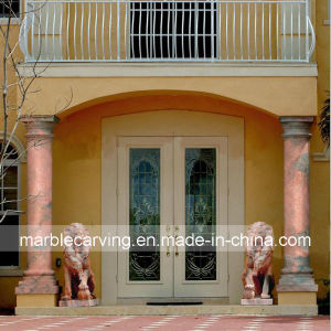 Sunset Red Marble Columns with Lion Carving for Entrance Hall pictures & photos