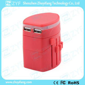 Red Portable Universal USB Charger Travel Adapter (ZYF9018)