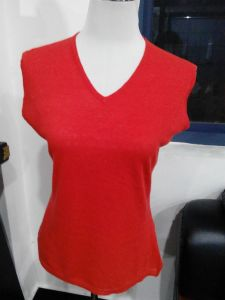 Bamboo Women′s Short Sleeve Red Color T Shirt pictures & photos