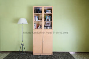 Modern Wooden Birch Veneer Clear Lacquer Bookcase with Glass Doors (AD-FY-N705C-SJ)