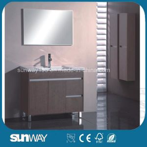 Floor Standing Melamine Bathroom Vanity with Mirror Cabinet pictures & photos