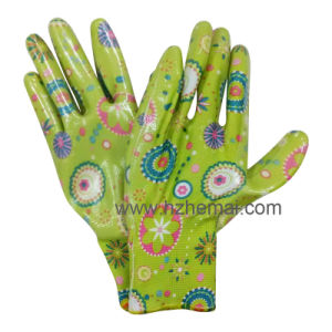 Floral Ladies Nitrile Coated Gardening Glove pictures & photos