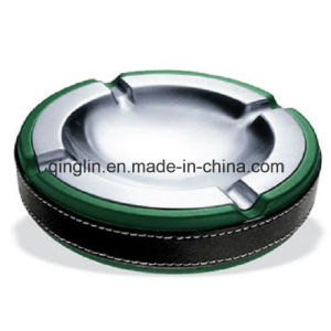 Promotional Green Leather KTV Guest Room Circle Ashtray (QL-YHG-0008)