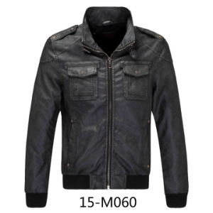 Men′s PU Leather Bomber Jacket (15-M060) pictures & photos