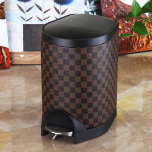 Grid Design Slow Down Close Foot Pedal Trash Can (S-8LG)