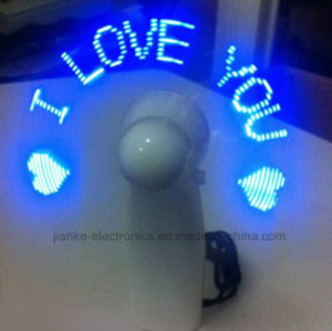 Summer LED Flashing Letters Battery Hand Fan with Logo Printed (3509)