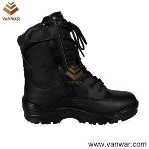Hot Sale Black Leather Combat Military Boots (WCB050) pictures & photos