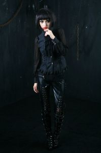 Wholesale Factory Price Gothic Women Leather Long Pants (K-130)
