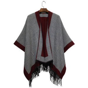 2016 Fall Winter New Fashion Acrylic Woven Fringe Shawl (YKY4504) pictures & photos