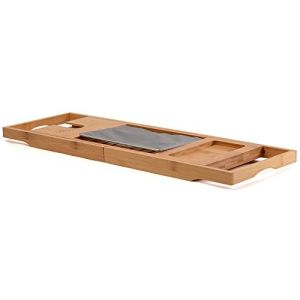 12ac124677818 Bamboo Luxury Bathtub Caddy Tray with Extending Sides, Book and Wine Holder  - Bath Wooden Tray