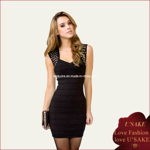 Sleeveless Ladies Black Bodycon Fashion Dress (S20311)