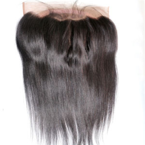 360 Lace Band Frontal Closure Brazilian Virgin Human Hair Nautral Black 130% Straight 360 Swiss Lace Frontal Wigs pictures & photos