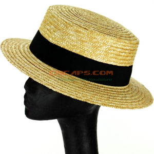 China Custom Natural Wheat Straw Boater Hat with Plain Top - China ... df58106b4409