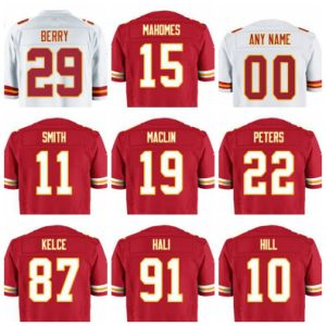 Peters Berry Smith Hali Mahomes Kelce Football Jersey Red White Custom & Regular Blank Man Women Youth